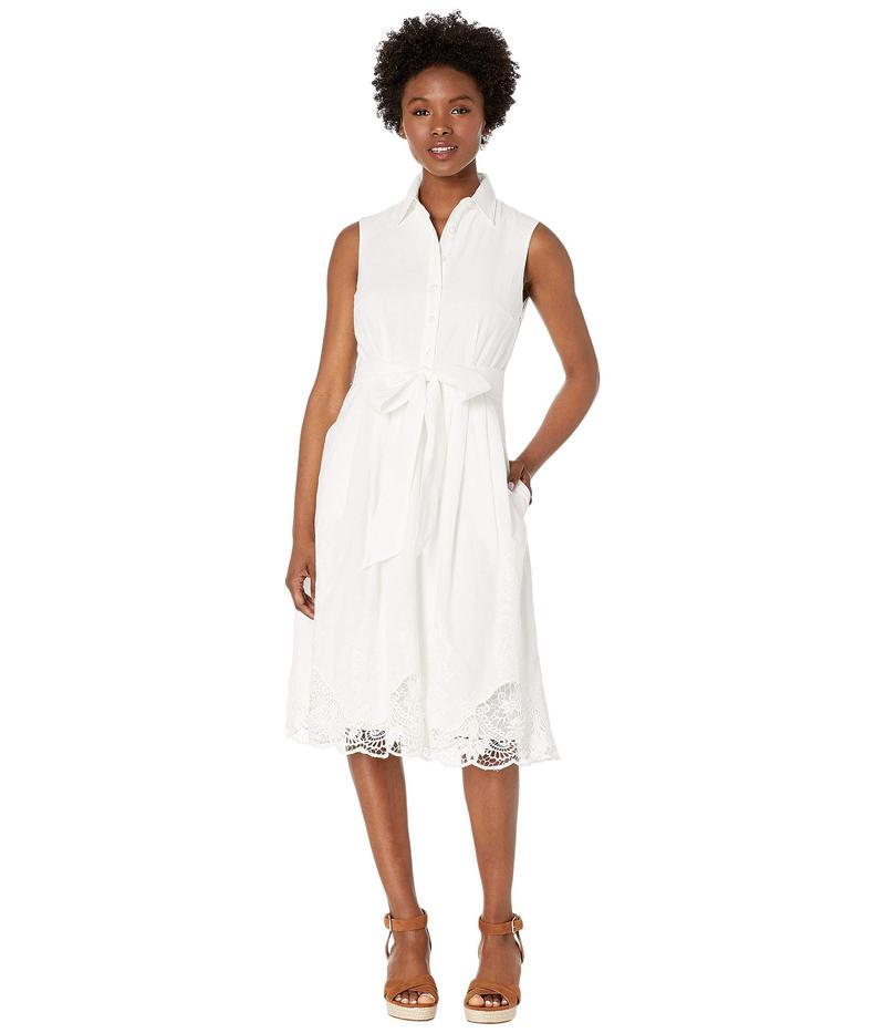 タハリ レディース ワンピース トップス Petite Sleeveless Button Front Shirtdress w/ Embroidery White