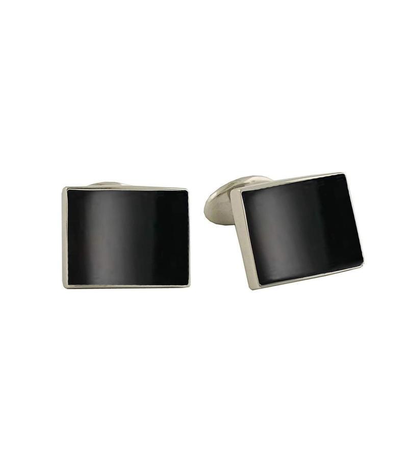 デイビッドドナヒュー メンズ カフスボタン アクセサリー Onyx Cuff Links Silver