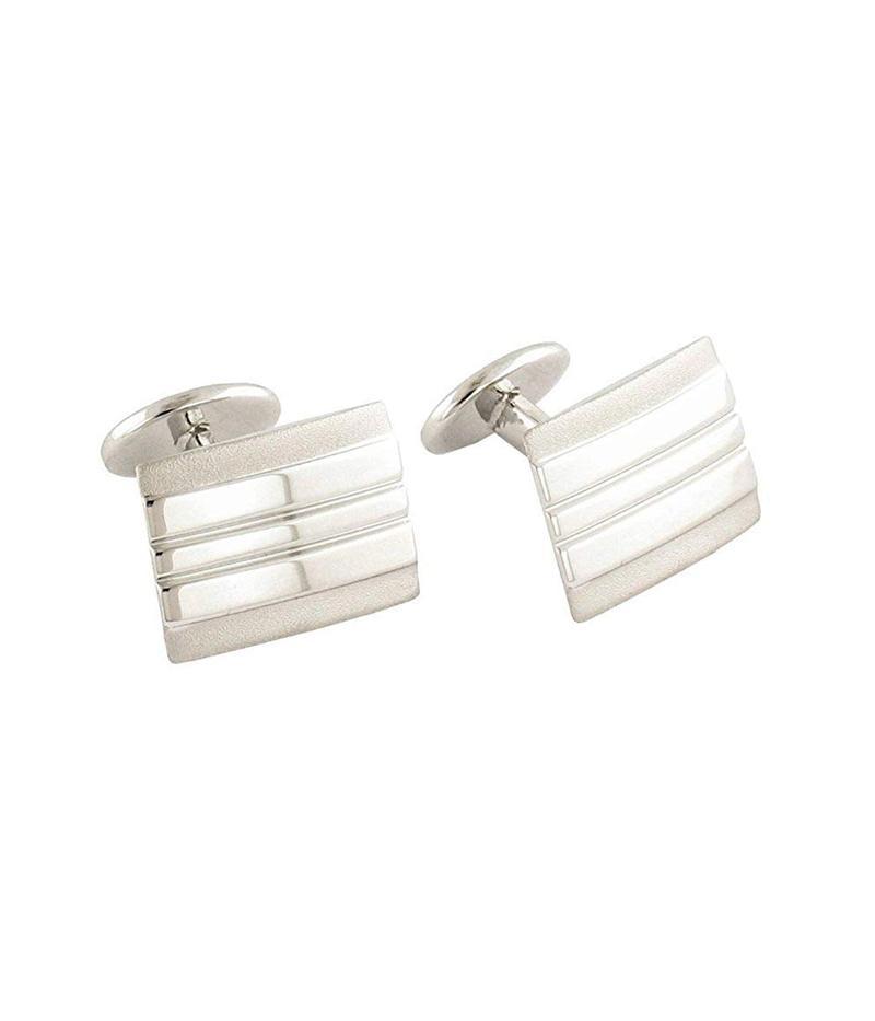 デイビッドドナヒュー メンズ カフスボタン アクセサリー Lined Rectangle Cuff Links Silver