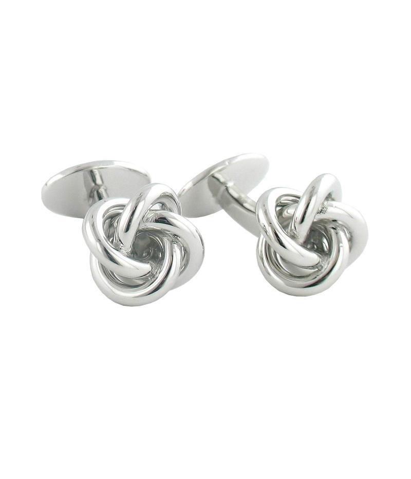 デイビッドドナヒュー メンズ カフスボタン アクセサリー Knot Cuff Links Silver