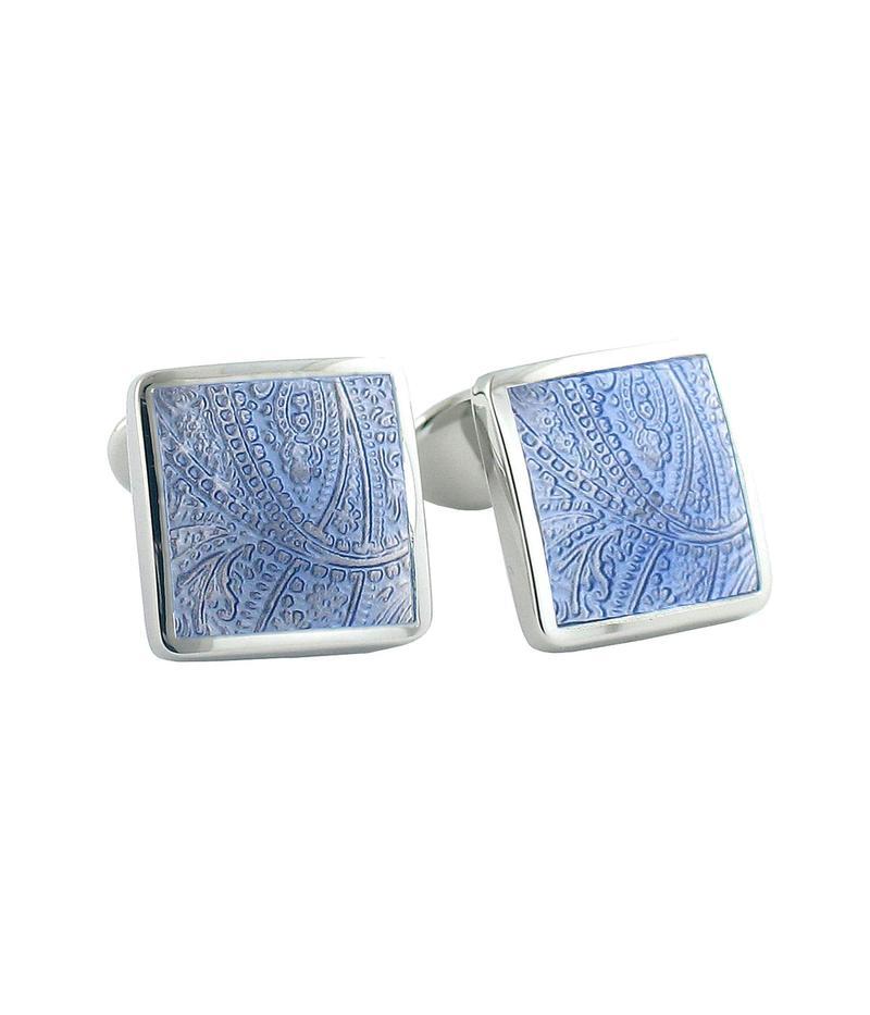 デイビッドドナヒュー メンズ カフスボタン アクセサリー Light Blue Paisley Cuff Links Silver
