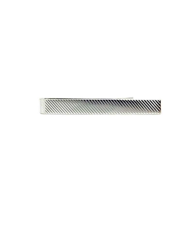 デイビッドドナヒュー メンズ カフスボタン アクセサリー Diagonal Stripe Tie Bar Silver