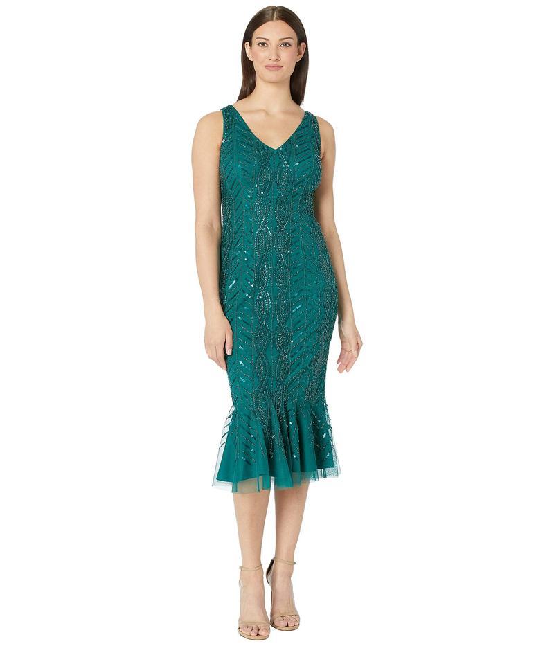 アドリアナ パペル レディース ワンピース トップス Mini Beaded Cocktail Dress with Flounced Hem Dark Jade