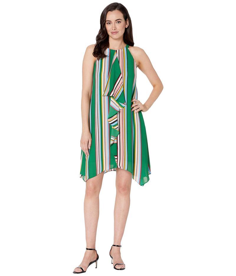 アドリアナ パペル レディース ワンピース トップス Printed Stripe Halter Dress with Asymmetric Drape Green Multi