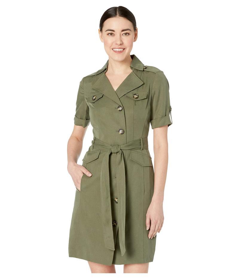 タハリ レディース ワンピース トップス Petite 3/4 Sleeve Modal Safari Dress Olive