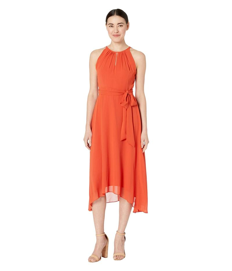 タハリ レディース ワンピース トップス Petite Sleeveless Chiffon Keyhole Midi Orange Spice