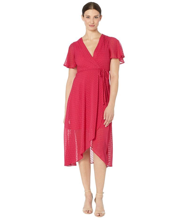 ヴィンスカムート レディース ワンピース トップス Clip Dot Tulip Skirt Midi Dress with Flounce Sleeve Berry