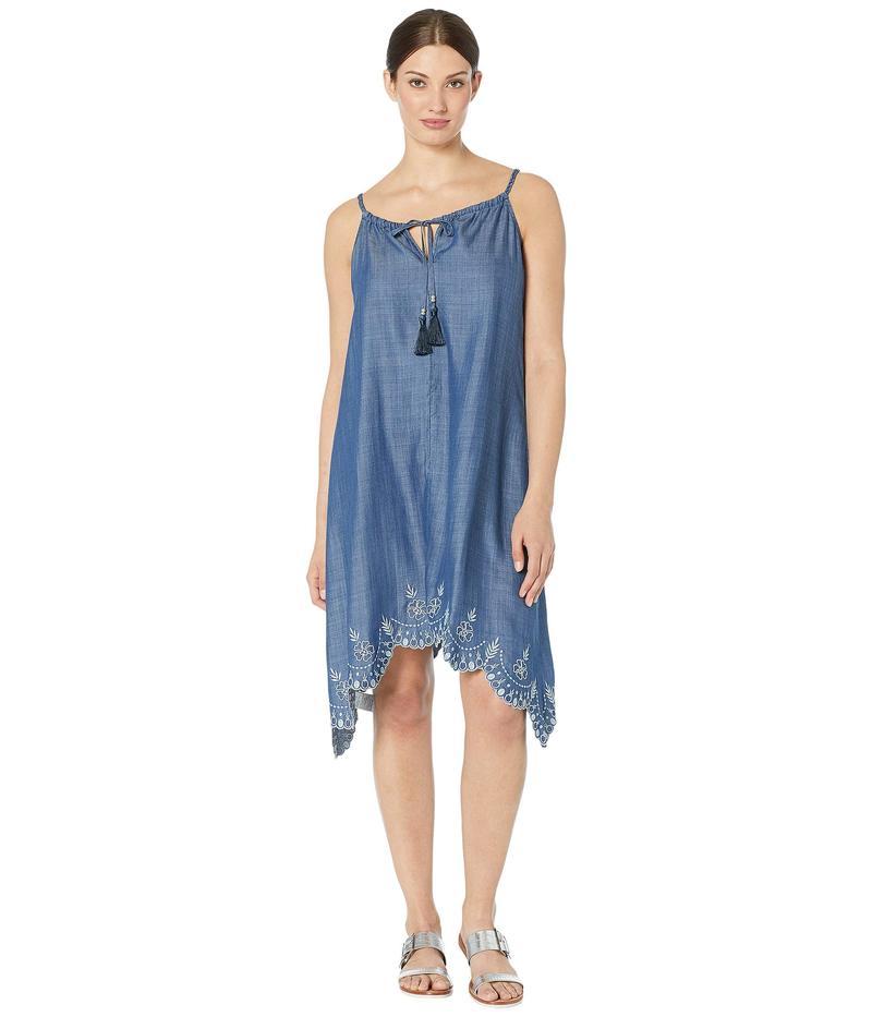 トッミーバハマ レディース ワンピース トップス Chambray All Day Embroidered Dress Dark Wash