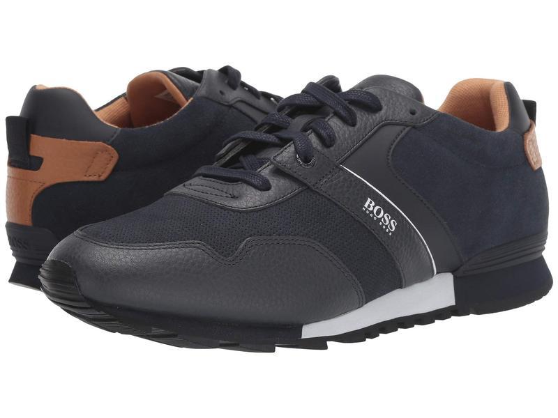 ヒューゴボス メンズ スニーカー シューズ Parkour Run Suede Sneakers by BOSS Dark Blue