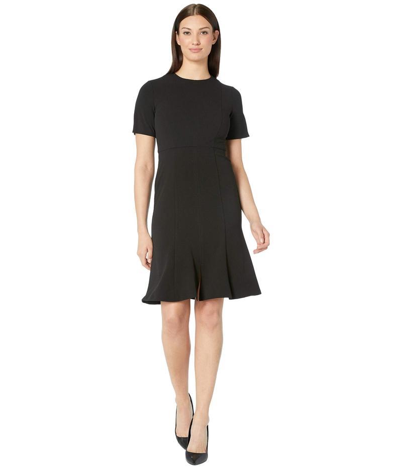 ドナモーガン レディース ワンピース トップス Short Sleeve Knitted Crepe Fit and Flare Dress Black