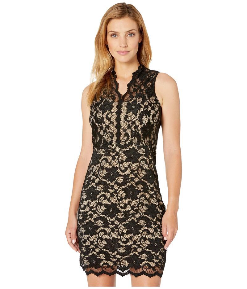 カレンケーン レディース ワンピース トップス V-Neck Sleeveless Lace Dress Black/Nude