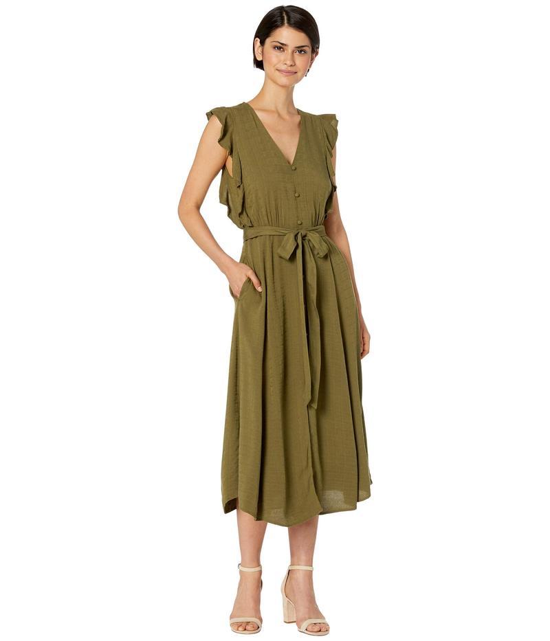 ワンステイト レディース ワンピース トップス Sleeveless Button Front Rayon Crosshatch Midi Dress Lush Grass