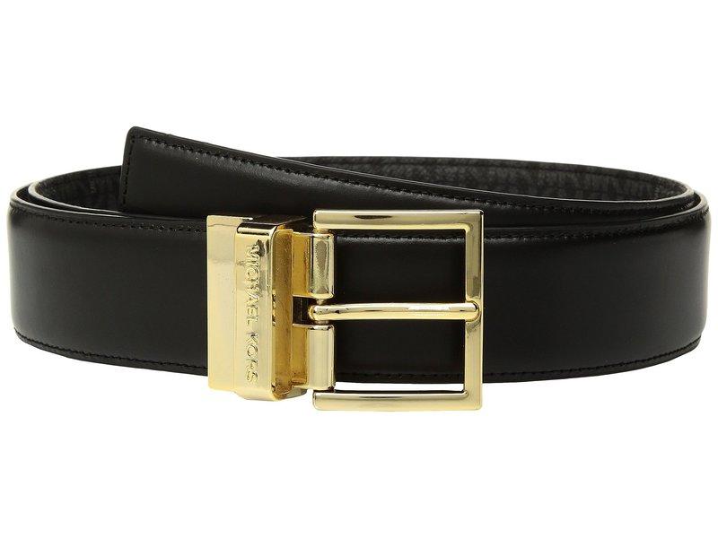 マイケルコース レディース ベルト アクセサリー Reversible Smooth to Logo Belt Black/Black