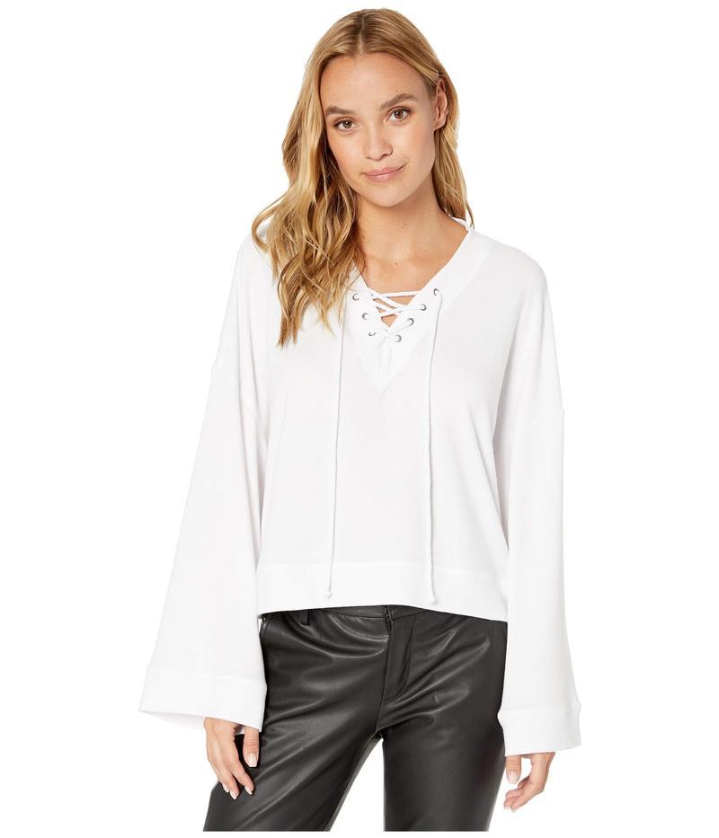 カップケーキアンドカシミア レディース パーカー・スウェット アウター Soma Knit Oversized Lace-Up V-Neck Pullover White
