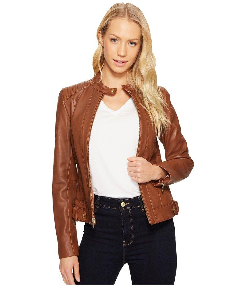 コールハーン レディース コート アウター Leather Racer Jacket with Quilted Panels Chestnut