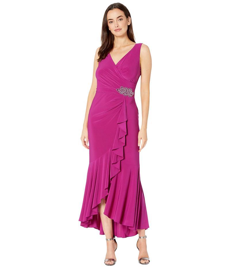 アレックスイブニングス レディース ワンピース トップス Long Dress with Ruffle High-Low Wrap Skirt Fuchsia
