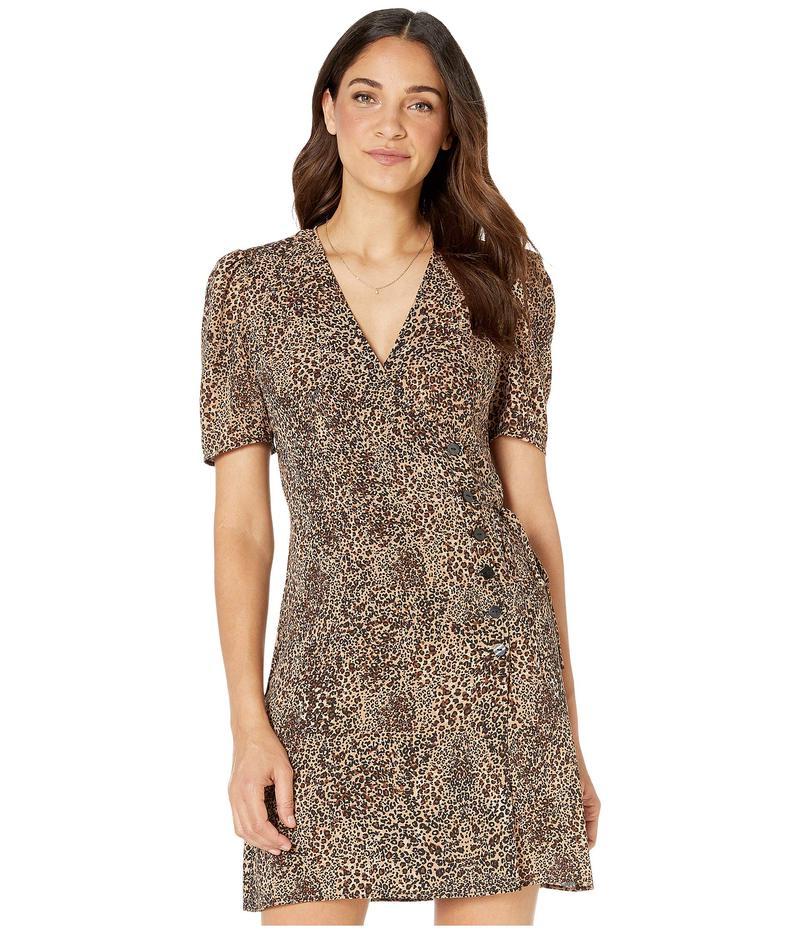 ワンステイト レディース ワンピース トップス Short Sleeve Asymmetrical Button Front Leopard Muse Dress Caramel Multi