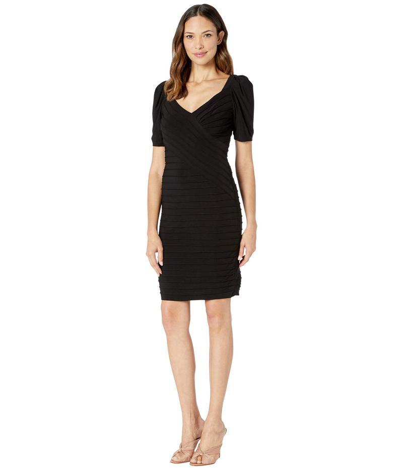アドリアナ パペル レディース ワンピース トップス Pintucked Jersey Dress with Puffed Sleeve Black