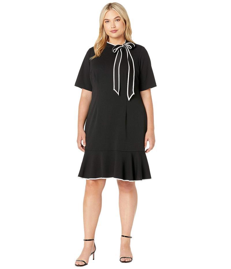 アドリアナ パペル レディース ワンピース トップス Plus Size Knit Crepe Tie Neck Flounce Dress Black/Ivory