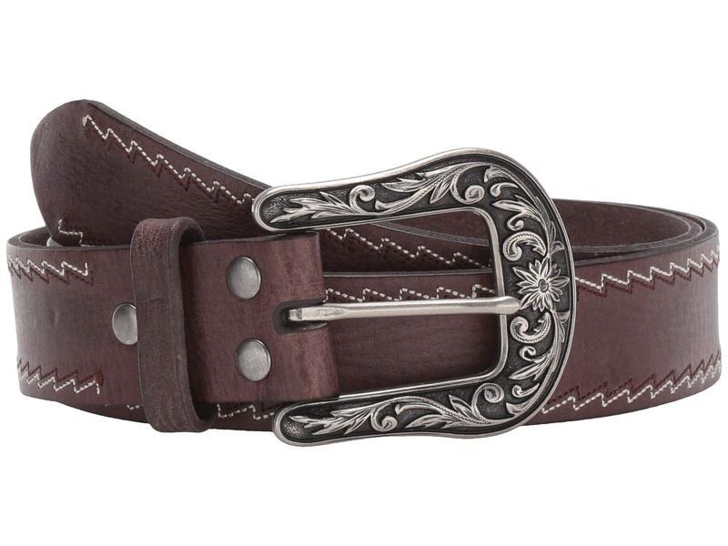 エムエフウエスターン レディース ベルト アクセサリー Nocona Zigzag Stitched Edge Belt Distressed Brown
