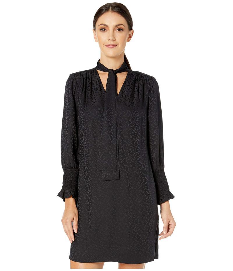 レベッカテイラー レディース ワンピース トップス Long Sleeve Cheetah Jacquard Dress Black