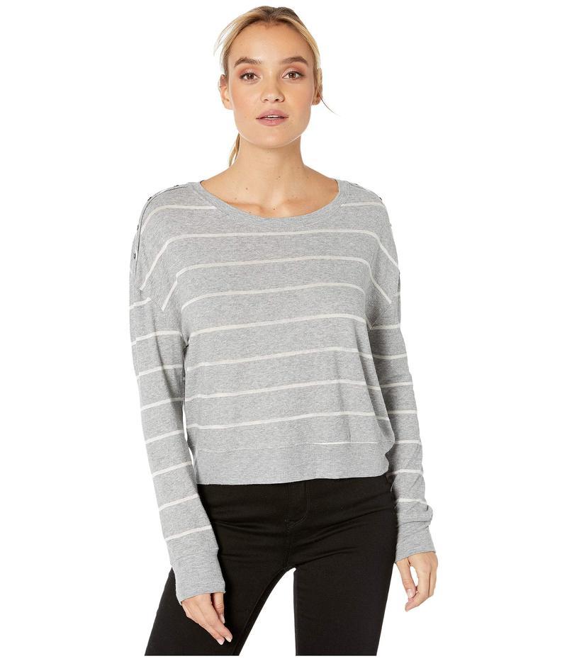 スプレンディット レディース ニット・セーター アウター Shoulder Placket PJ Sweater Soft Stripe Grey/White