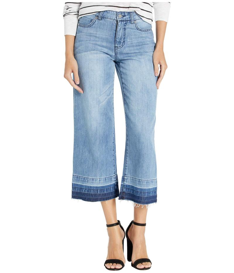 トリバル レディース デニムパンツ ボトムス Wide Leg Culottes w/ Frayed Hem Blue Mood