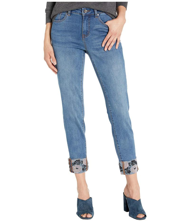 トリバル レディース デニムパンツ ボトムス Five-Pocket Skinny w/ Embroidery Rolled Cuff in Sweet Blue Sweet Blue