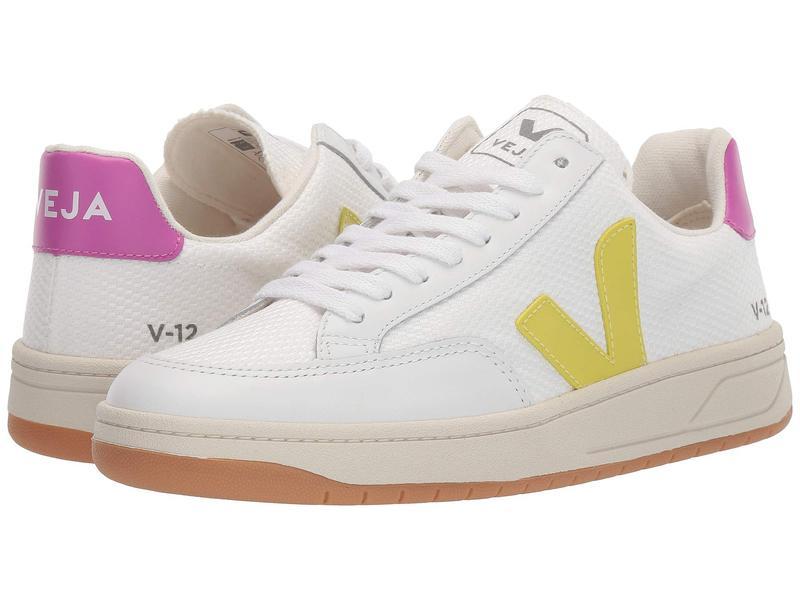 ヴェジャ レディース スニーカー シューズ V-12 White Mesh/Jaune Fluo/Ultra Violet Leather