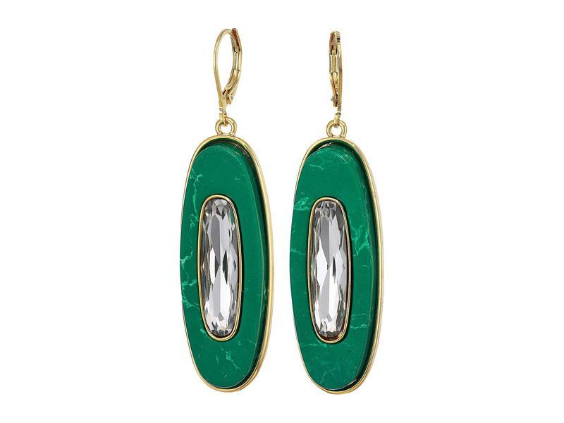 ヴィンスカムート レディース ピアス・イヤリング アクセサリー Drop Earrings Gold/Crystal/Green Jasper