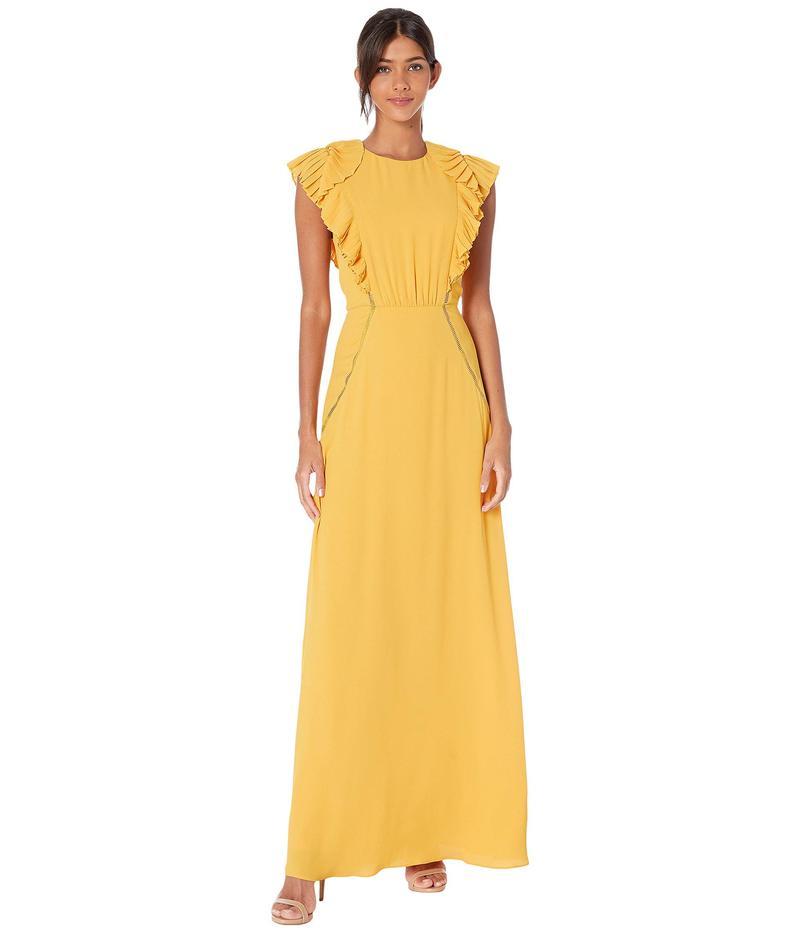 ビーシービージーマックスアズリア レディース ワンピース トップス Ruffle Shoulder Evening Gown Golden Glow