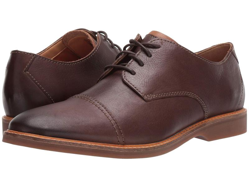クラークス メンズ オックスフォード シューズ Atticus Cap Dark Brown Leather