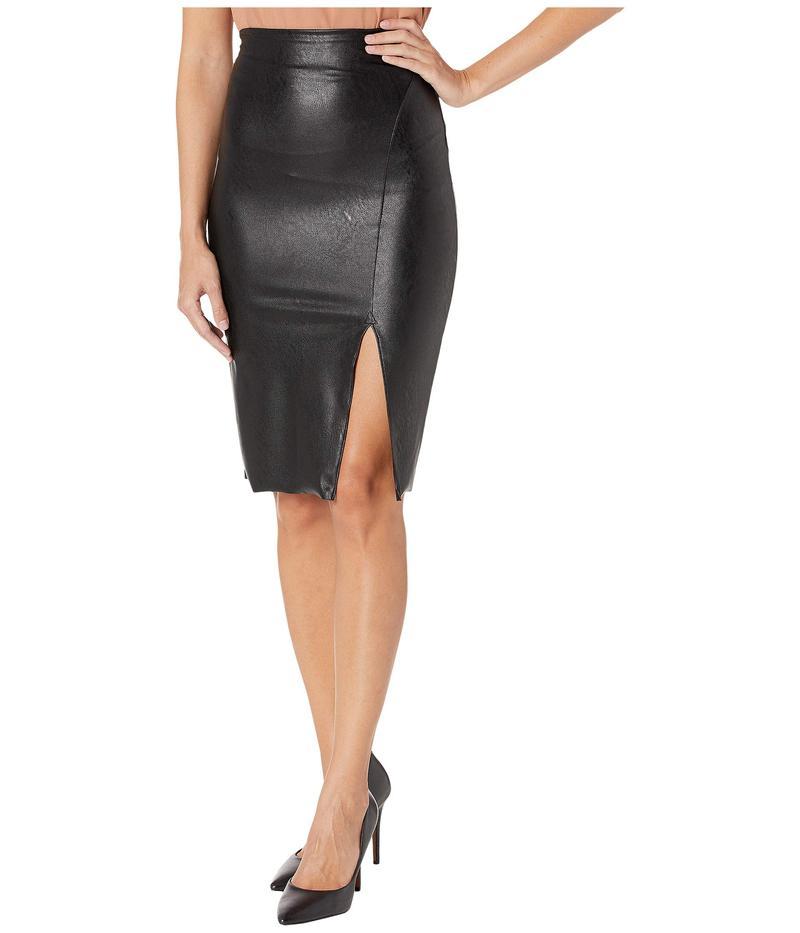 コマンドー レディース スカート ボトムス Faux Leather Side Slit Midi Skirt SK11 Black
