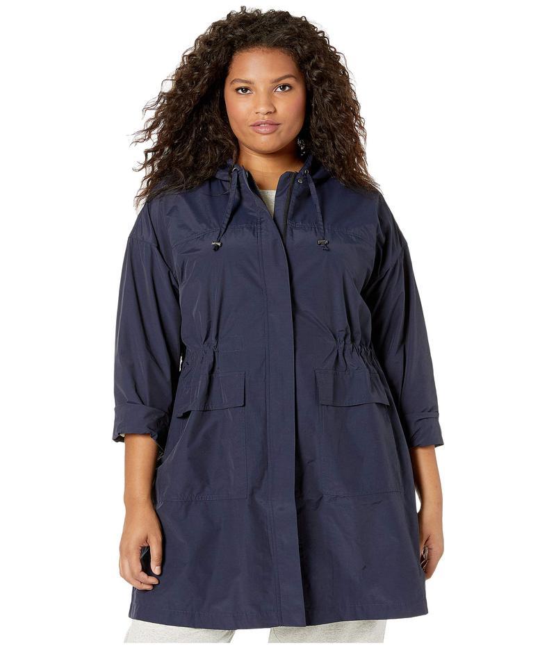エイリーンフィッシャー レディース コート アウター Plus Size Light Organic Cotton Nylon Hooded Long Coat Midnight