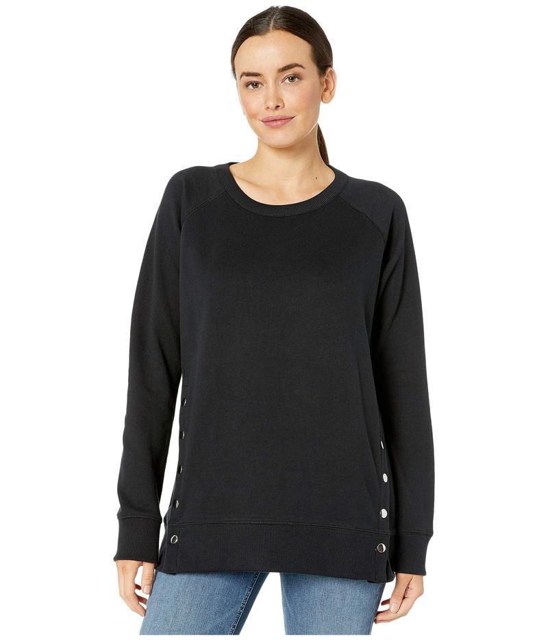 ジャグジーンズ レディース パーカー・スウェット アウター Kristen Side Snap Crew Sweatshirt Black