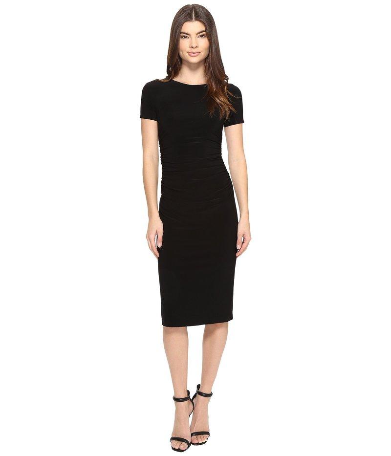 カマリカルチャー レディース ワンピース トップス Short Sleeve Crew Neck Shirred Waist Dress Black