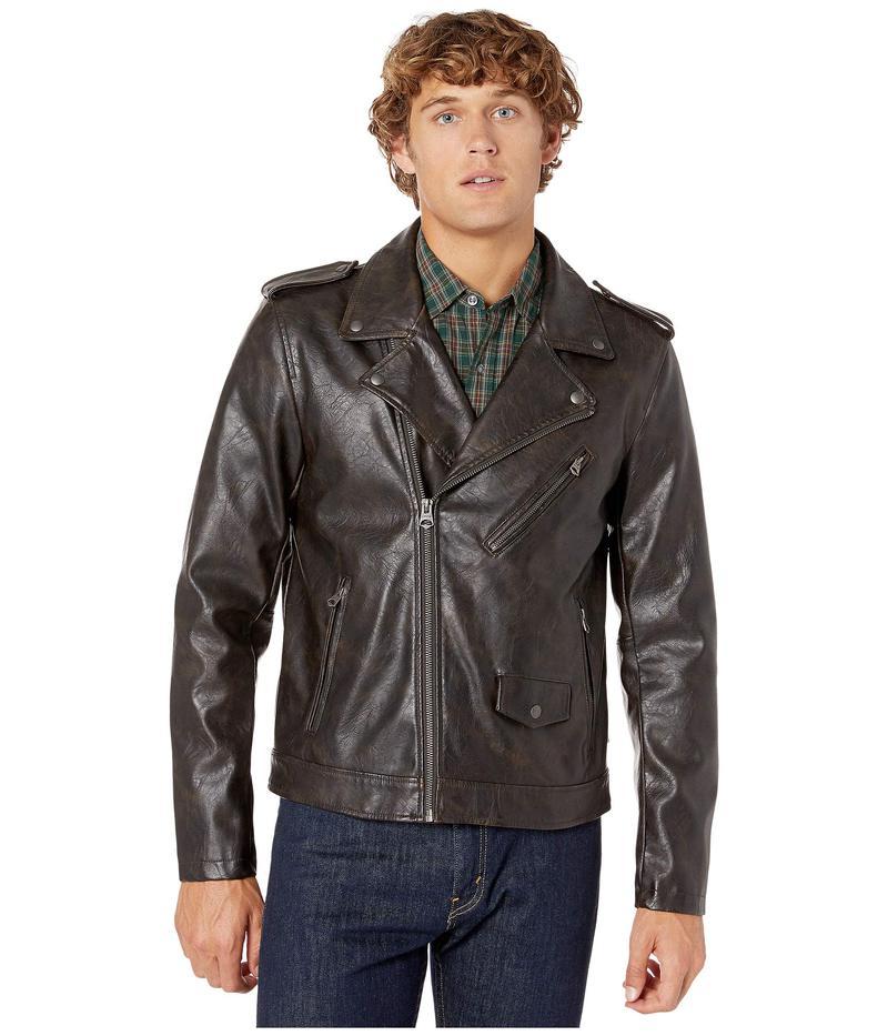 リーバイス メンズ コート アウター Faux Leather Moto Antique Brown