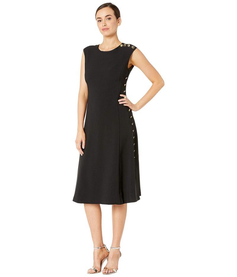 マギーロンドン レディース ワンピース トップス Mystic Crepe Fit and Flare Dress with Side Button Detail Black