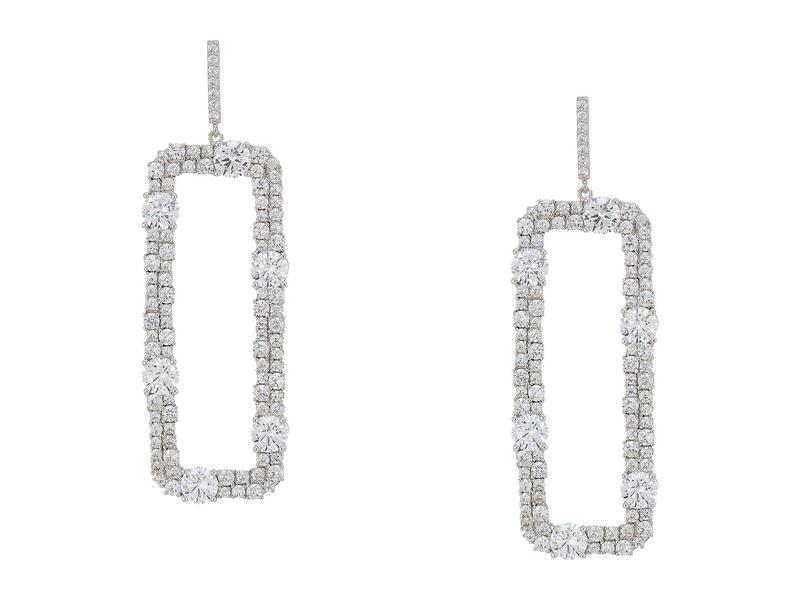 ニナ レディース ピアス・イヤリング アクセサリー Elongated Rectangle Link Earrings Rhodium/White Crystal
