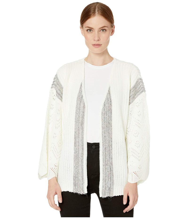 トリバル レディース ニット・セーター アウター Long Sleeve Sweater Cardigan w/ Crochet Cream