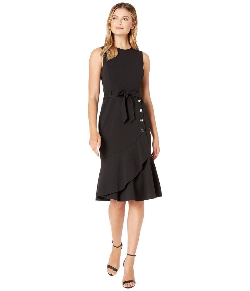 カルバンクライン レディース ワンピース トップス Tie Front Dress with Flare and Buttons Black