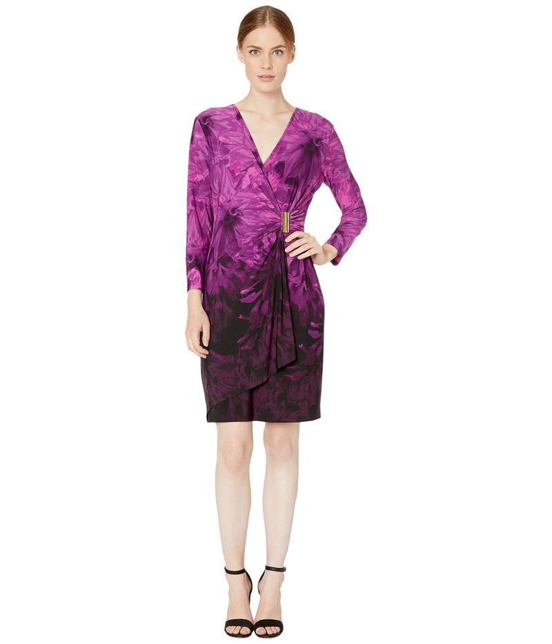 カルバンクライン レディース ワンピース トップス Printed Faux Wrap Dress with Side Tab Aubergine