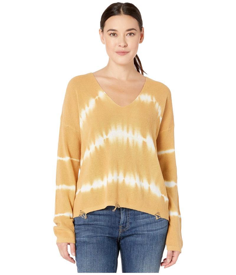 アメリカンローズ レディース ニット・セーター アウター Athena V-Neck Tie-Dye Sweater Camel