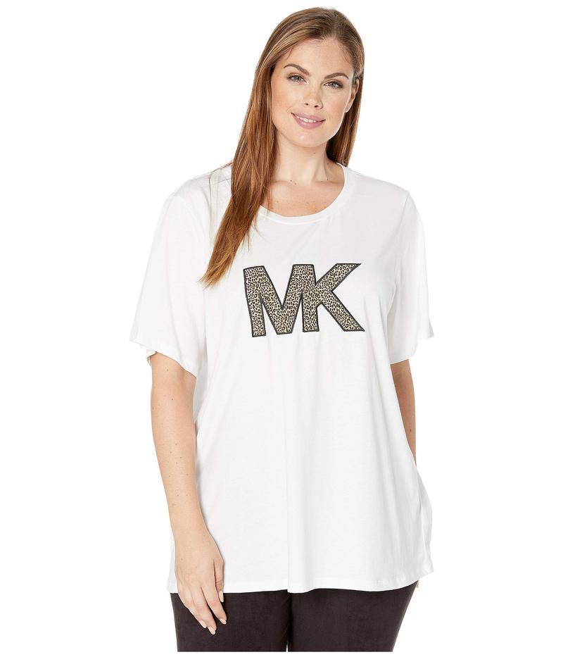 マイケルコース レディース シャツ トップス Plus Size Cheetah MK Logo T-Shirt White