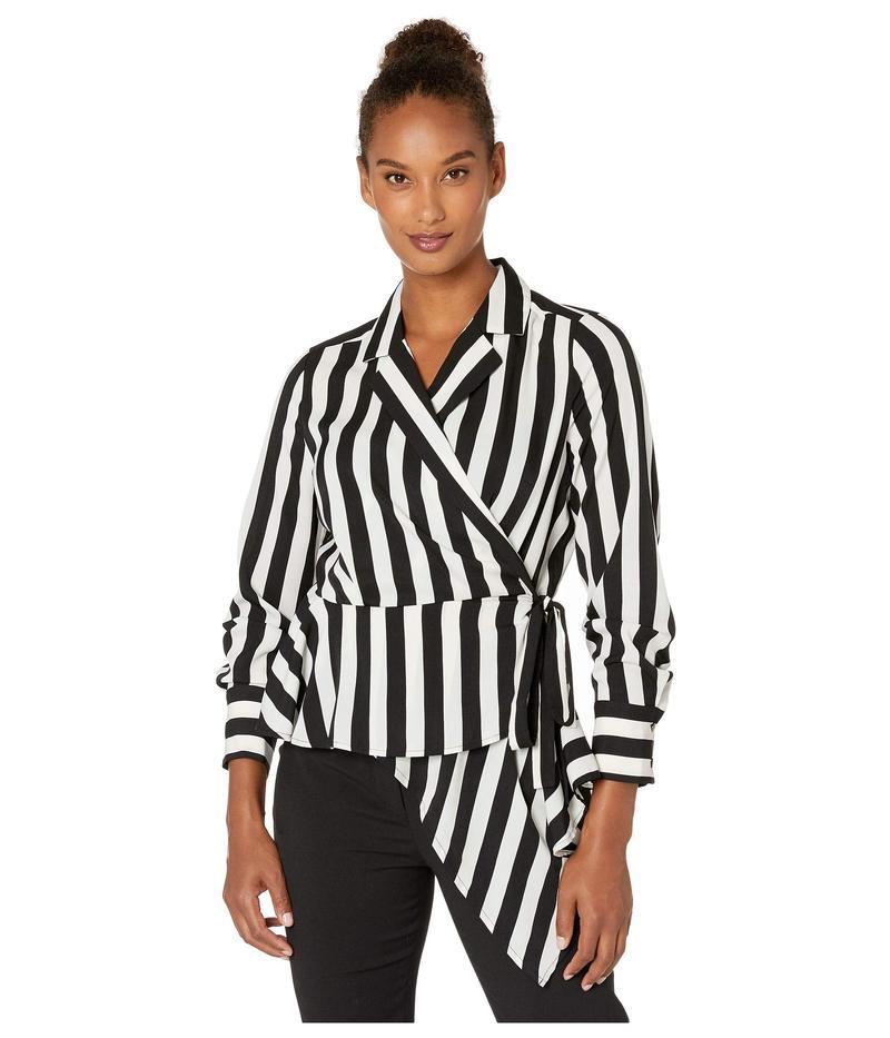 ヴィンスカムート レディース シャツ トップス Short Sleeve Bold Stripe Wrap Front Asymmetrical Peplum Hem Blouse Rich Black