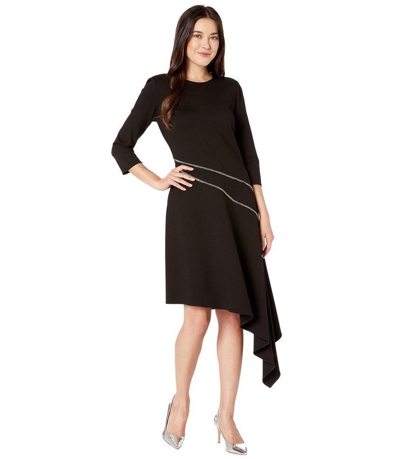 ヴィンスカムート レディース ワンピース トップス Ponte Asymmetrical Hem Dress w/ Silver Zipper Trim Rich Black
