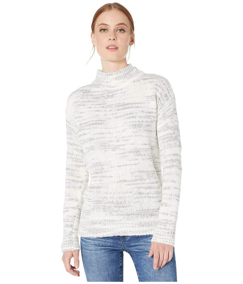 カルバンクライン レディース ニット・セーター アウター Mock Neck Marl Stripe Winter White/He