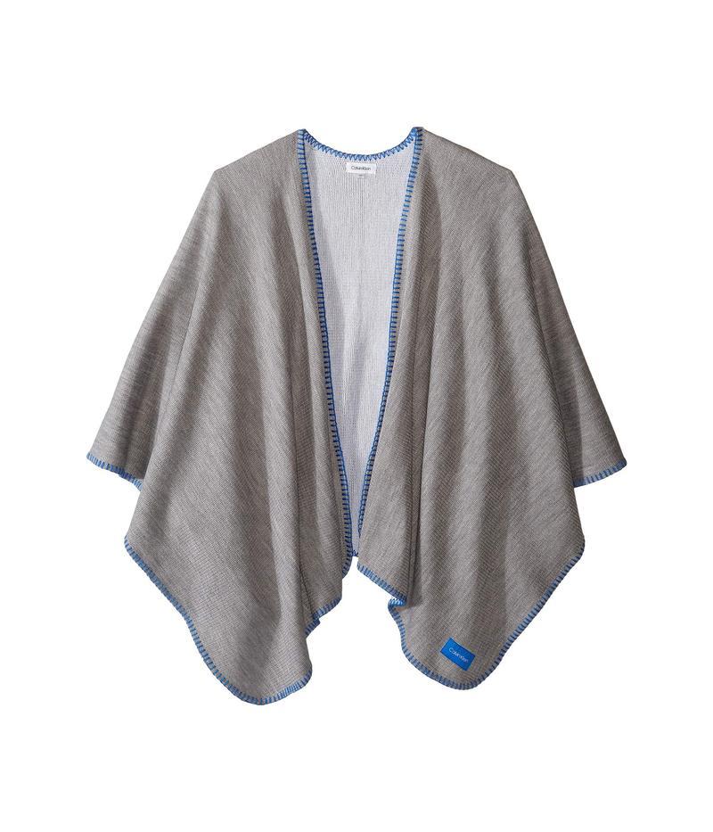 カルバンクライン レディース マフラー・ストール・スカーフ アクセサリー Reversible Knit Blanket Stitch Shawl Heather Mid Gre