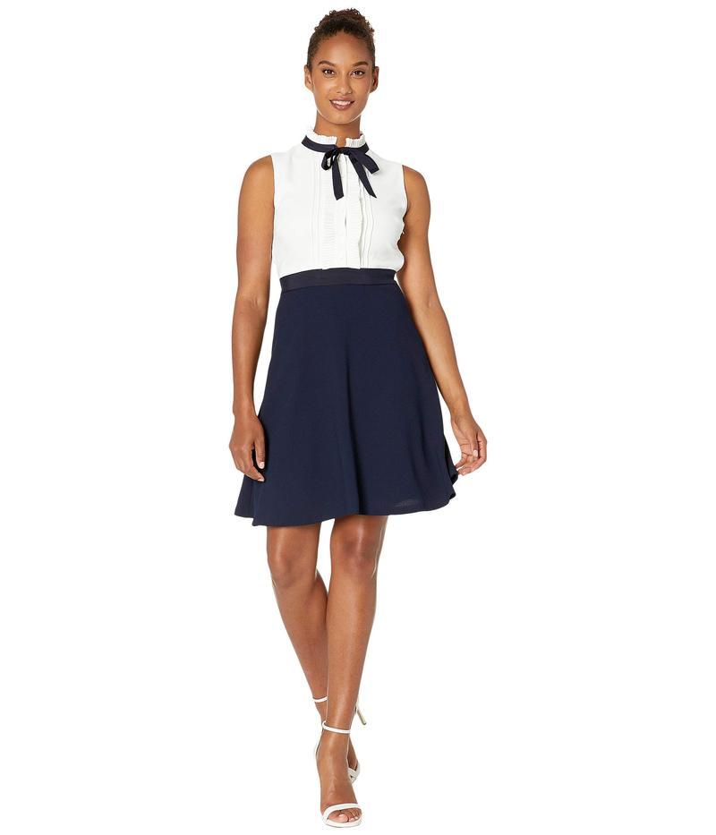 セセ レディース ワンピース トップス Sleeveless A-Line Dress with Pleated Trim Soft Ecru