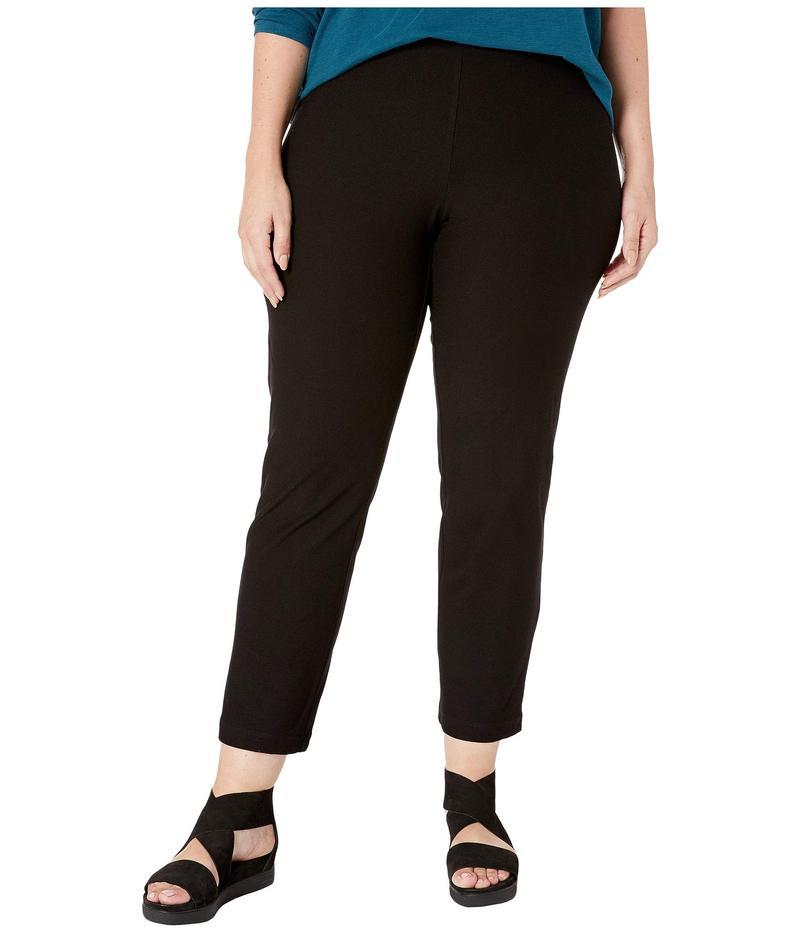 エイリーンフィッシャー レディース カジュアルパンツ ボトムス Plus Size Washable Stretch Crepe Slim Ankle Pants w/ Side Zipper Black